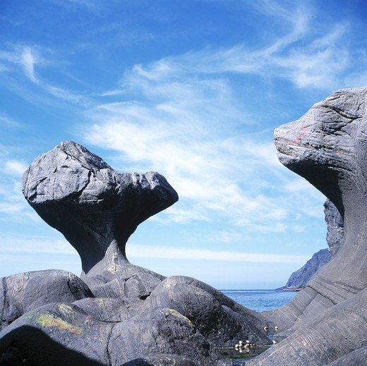 Stock Photo: 4176-988 Norway, Maloy - Rock formations at the coast