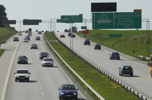 Stock Photo: 4177R-1163 High angle view of traffic on a highway, Skane, Sweden