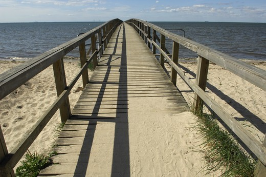 Stock Photo: 4177R-1891 High angle view of a jetty and ocean in backgrond, Oresund, Skane, Sweden