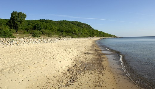 Stock Photo: 4177R-2404 Panoramic view of a beach, Osterlen, Skane, Sweden