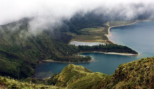 High angle view of a lake, Crater Lake, Lagoa do Fogo, Azores, Portugal : Stock Photo