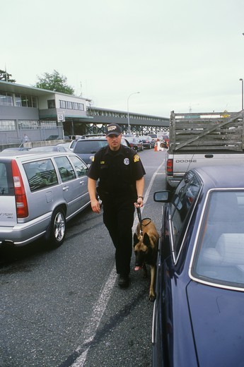 Stock Photo: 4179-29685 Explosive Sniffing Dog, Homeland Security, Patrolman at Seattle Ferry, Washington
