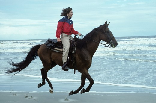 Stock Photo: 4179-33018 Horseback Riding Cumberland Island, GA, Georgia