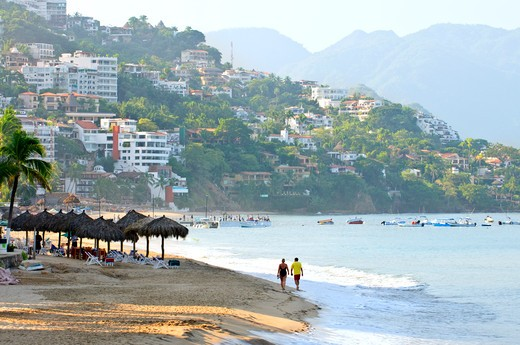 Stock Photo: 4183R-10318 Morning beach and ocean in Puerto Vallarta, Mexico