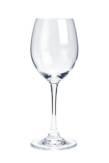 Stock Photo: 4183R-10605 Empty white wine glass isolated on white background