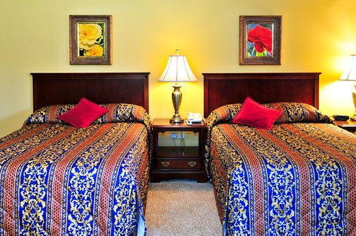 Bedroom interior with two double beds, images on the wall are my own. : Stock Photo