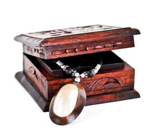 Stock Photo: 4183R-1461 Beautiful handcrafted wooden box with aboriginal jewelry