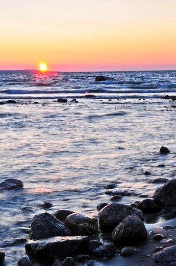 Stock Photo: 4183R-1510 Sunset at the rocky shore of Georgian Bay, Canada. Awenda provincial park.