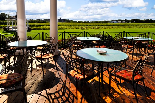 Patio chairs and tables near vineyard at winery : Stock Photo