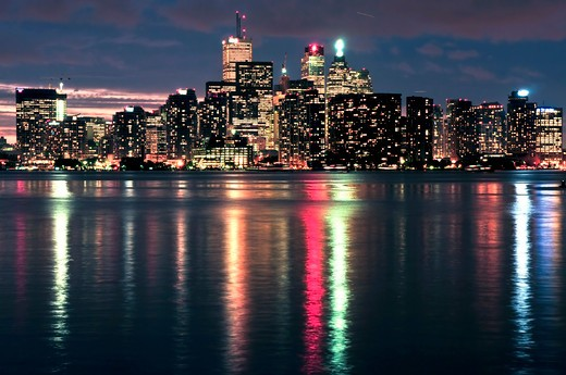 Scenic view at Toronto city waterfront skyline at night : Stock Photo