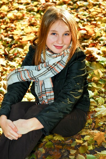 Stock Photo: 4183R-2948 Portrait of a beautiful teenage girl in fall park