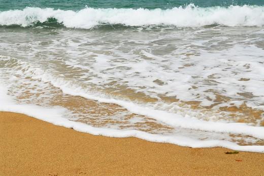 Ocean wave advancing on a sandy beach : Stock Photo