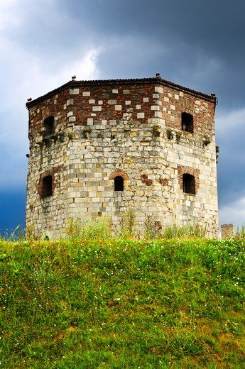 Historic Nebojsa tower at Kalemegdan in Belgrade : Stock Photo