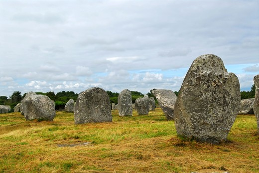 Prehistoric megalithic monuments menhirs in Carnac area in Brittany, France : Stock Photo