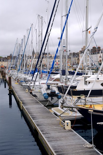 Sailboats moored in the harbor in Vannes, Brittany, France : Stock Photo