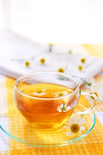 A teacup with soothing herbal camomile tea : Stock Photo