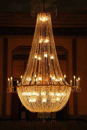 Stock Photo: 4183R-3824 Beautiful chandelier in a hotel lobby