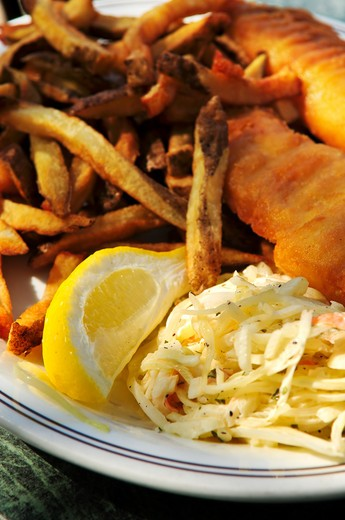 Stock Photo: 4183R-5324 Fish and chips on a plate with coleslaw