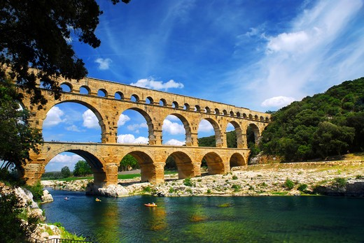 Pont du Gard is a part of Roman aqueduct in southern France near Nimes. : Stock Photo