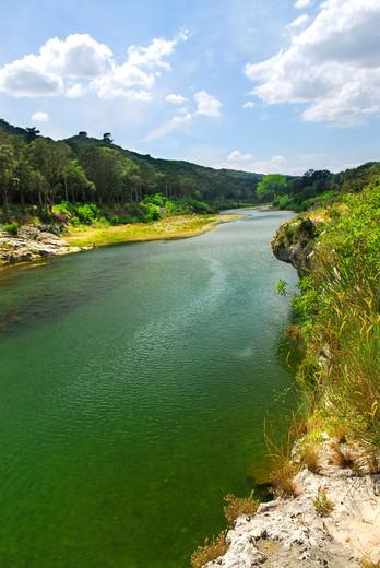 River Gard in southern France near Nimes : Stock Photo