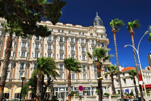 Luxury hotel on Croisette promenade in Cannes France : Stock Photo