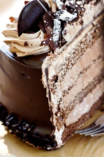 Stock Photo: 4183R-577 Slice of chocolate mousse cake served on a plate