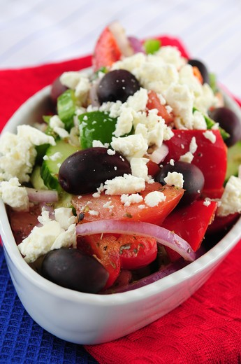 Stock Photo: 4183R-6263 Greek salad with feta cheese and black kalamata olives