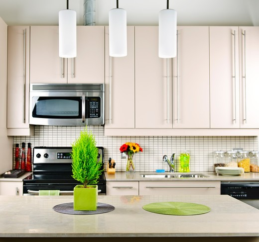 Stock Photo: 4183R-6860 Modern kitchen interior with natural stone countertop