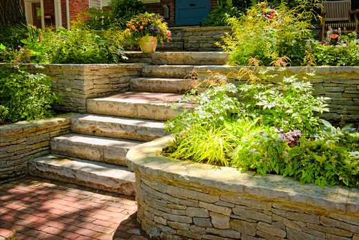 Stock Photo: 4183R-6926 Natural stone landscaping in home garden with stairs
