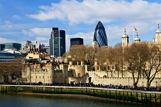 Tower of London skyline  view from Thames river : Stock Photo