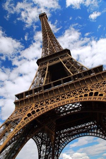 Stock Photo: 4183R-8162 Eiffel tower on background of blue sky in Paris, France.