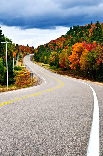 Fall scenic highway in northern Ontario, Canada : Stock Photo