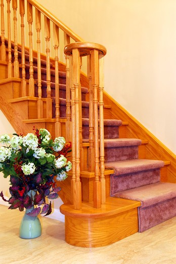 Stock Photo: 4183R-9482 Interior of a house hallway with solid wood staircase