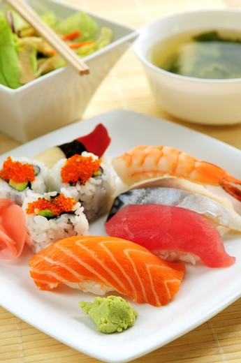 Sushi lunch with miso soup and green salad : Stock Photo