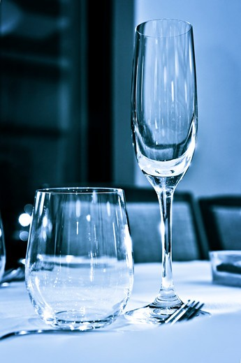 Close up view of table setting with glasses : Stock Photo