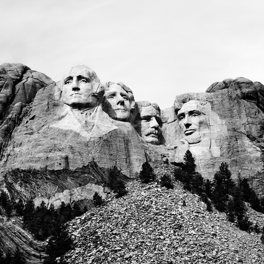 Black and white of Mount Rushmore National Monument, South Dakota. : Stock Photo