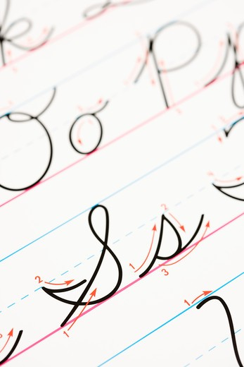 Stock Photo: 4184R-13716 Close up of cursive handwriting practice page.