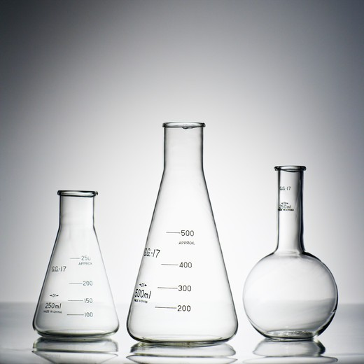 Stock Photo: 4184R-13796 Glass science containers.