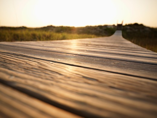 Stock Photo: 4184R-13943 Low angle view of wooden boardwalk leading to beach at Bald Head Island, North Carolina.