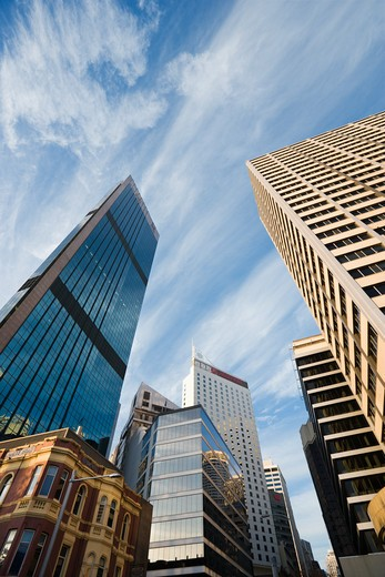 Stock Photo: 4184R-14135 Low angle view of skyscrapers and buildings in downtown Sydney, Australia.