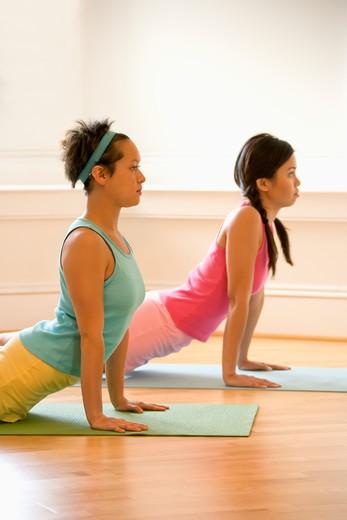 Stock Photo: 4184R-16004 Two young women on yoga mats doing upward cobra pose.