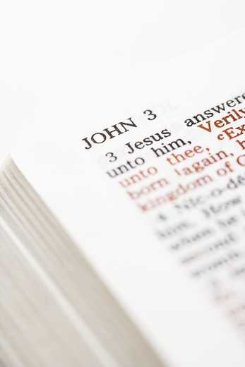 Stock Photo: 4184R-16143 Selective focus of John 3 verses in open Holy Bible.