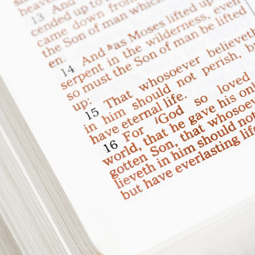 Stock Photo: 4184R-16146 Selective focus of verses in open Holy Bible.