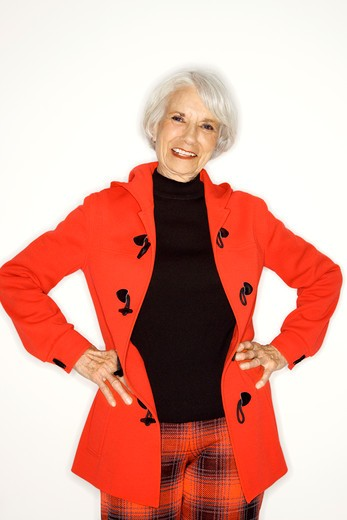 Caucasian mature adult female standing looking at viewer. : Stock Photo