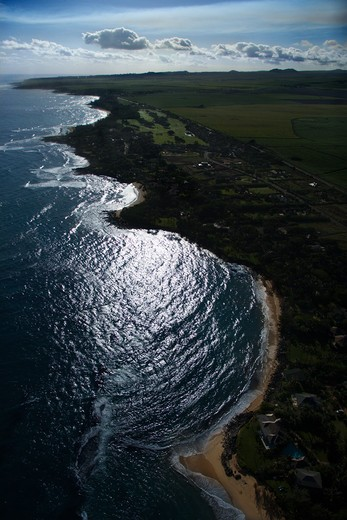 Aerial of shoreline in Maui, Hawaii. : Stock Photo