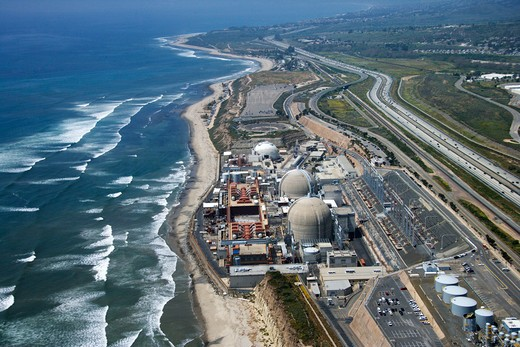 Aerial of nuclear power plant on California coast, USA. : Stock Photo
