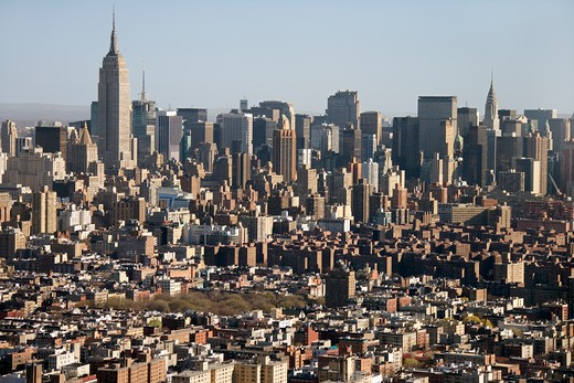 Aerial view of Manhattan, New York City skyline. : Stock Photo