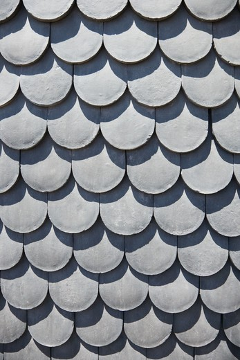Close-up of rooftop with scale shaped shingles in Lisbon, Portugal. : Stock Photo