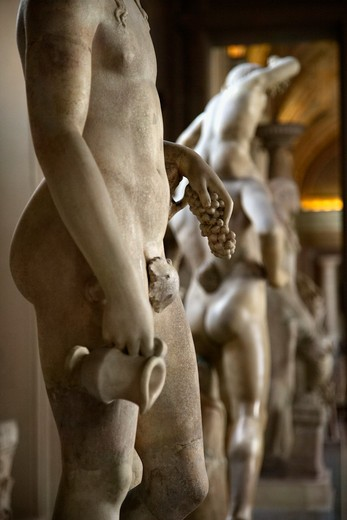 Nude sculptures Ceiling fresco in the Vatican Museum, Rome, Italy. : Stock Photo