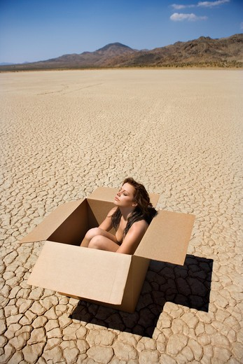 Stock Photo: 4184R-641 Pretty nude young woman sitting in box in cracked desert landscape in California.